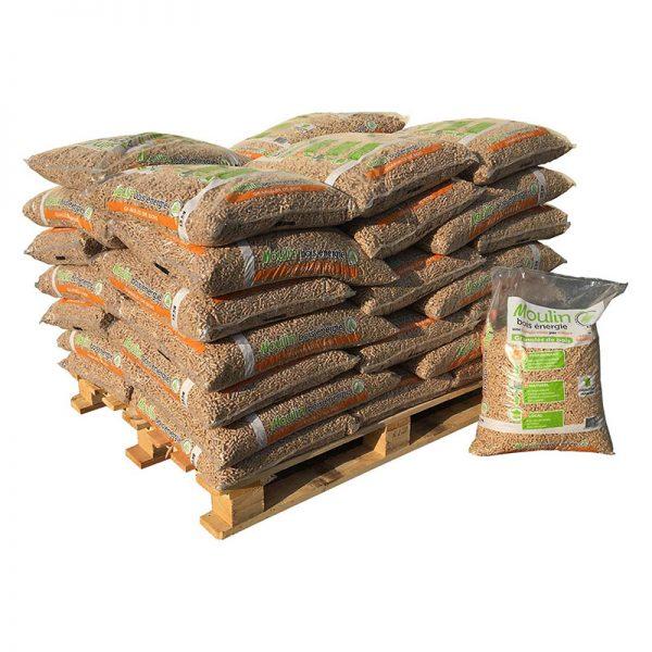 Demi-palette de sacs de pellets Moulin Bois Energie